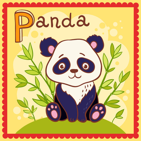 Illustrated alphabet letter P and panda. Vector picture with cartoon animals. Illustration