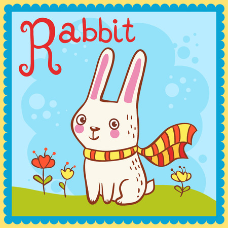 Illustrated alphabet letter R and rabbit. Vector picture with cartoon animals.