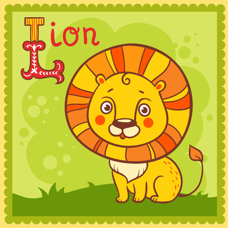 Illustrated alphabet letter L and lion. Vector picture with cartoon animals. Illustration