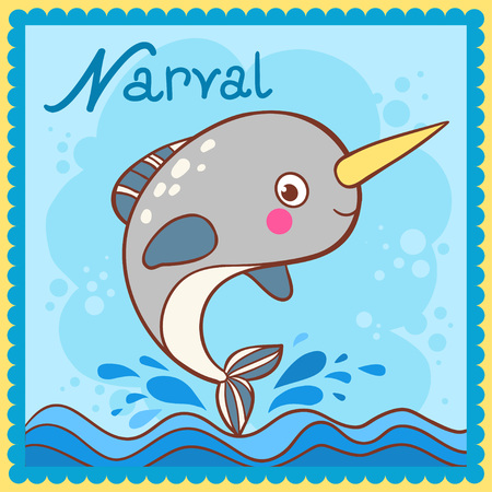 Illustrated alphabet letter N and narval. Vector picture with cartoon animals. Illustration