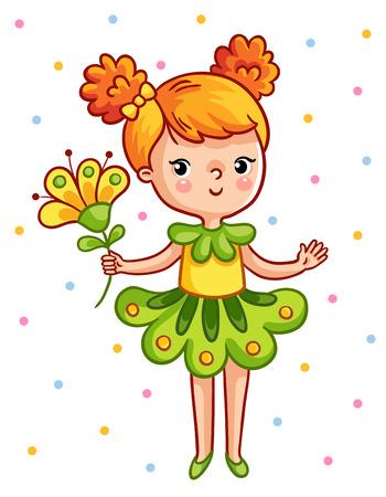 flor caricatura: niña bonita sosteniendo una hermosa flor amarilla. La chica en un vestido verde sobre un fondo blanco. Ilustración del vector en estilo de dibujos animados.