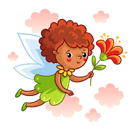 background picture: Cute dark-skinned fairy flying on the wings and keep a beautiful flower. Vector illustration of a fairy on a background of clouds. Picture in cartoon style. Illustration