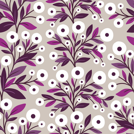 Vector seamless illustration with flowers on a gray background. Flower pattern.