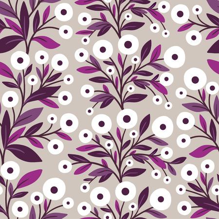 Vector naadloze illustratie met bloemen op een grijze achtergrond. Bloempatroon.