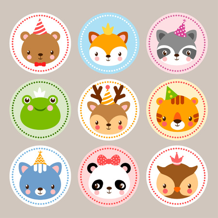 the children s: Funny stickers with animals to birthday. Vector set with wild animals in cartoon style. Children s illustration with baby animals. Illustration
