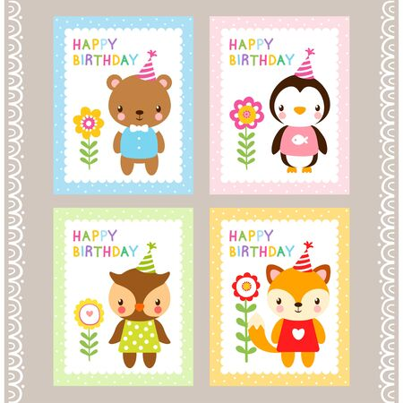 the children s: Holiday stamps with animals. Cards with animals in cartoon style. Vector illustration of children s wildlife. A set of pictures. Birthday card.