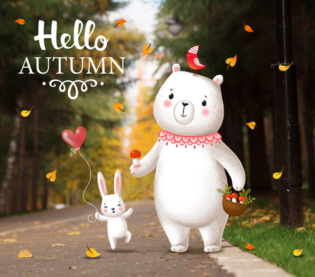 walking path: Funny bunny and bear striding through the park. Cute animals are walking in the park on a path. Picture on autumn theme. Greeting card with the inscription Hello Autumn . Stock Photo