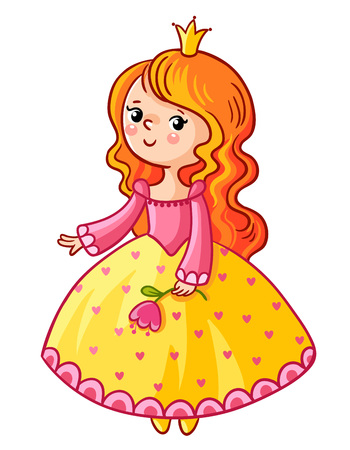 girl illustration: Cute Princess stand on a white background. Girl with a crown and a flower in her hand. Vector illustration of a princess in a cartoon style. The picture on the children theme. Illustration
