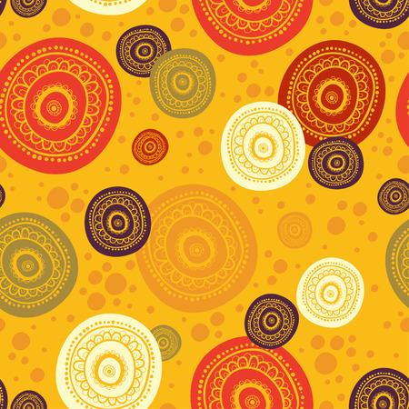 Ethnischen nahtlose Muster. Indian Ornament, kaleidoskopischen Flora Muster, Mandala. Bereich, Kreis, rund, Scheibe. schöne afrikanische abstrakte nahtlose Muster. nahtlose Muster mit Kreisen Standard-Bild - 64575652