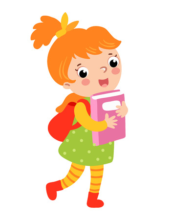 to go: Cute girl go to school. Vector illustration of a girl on a white background. A schoolgirl walks to school.