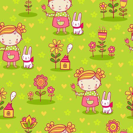 nice girl: Nice childish background. Cute girl and flowers seamless pattern.