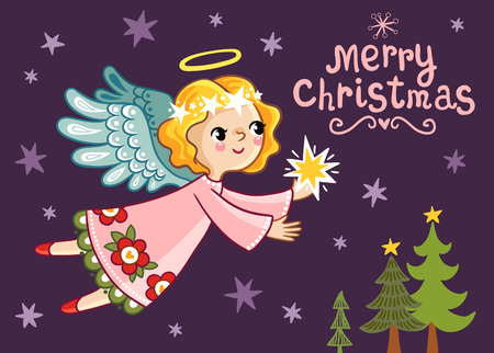 the children s: Christmas card with an angel who holds a star. Cute vector illustration on a Christmas theme in children s style. Illustration