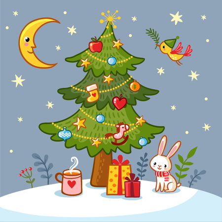 the children s: Christmas card with Christmas tree and gifts. Cute vector illustration on a Christmas theme in children s style.