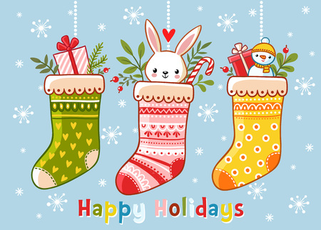 the children s: Christmas illustration with christmas socks and gifts in them. Inscription happy holidays on a blue background. Vector illustration. Cute illustration in a children s style. Illustration