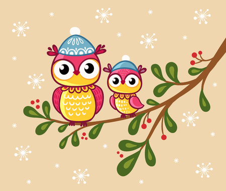 beige background: Two owls in hats sit on a branch. Vector illustration in a childrens style, with a beige background and snowflakes.