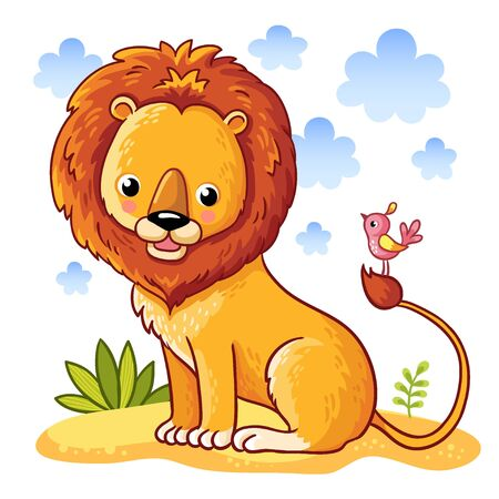 bush babies: Lion sitting on a sandy a meadow. Vector illustration of animals in a childrens style. Illustration
