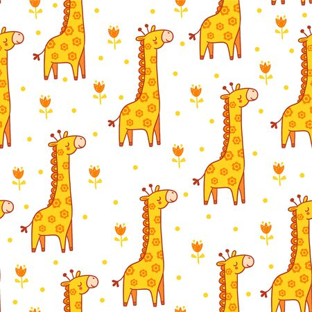 Vector seamless illustration with giraffes. The animal in the childrens style. Giraffe blinked.
