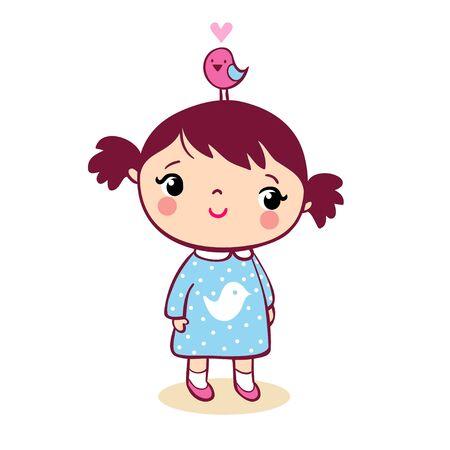 Cute girl with bird on head cartoon illustration.