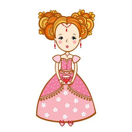 taza cafe: mujer joven con una taza de té y tetera. La princesa de los sueños en las nubes con una taza de café. la hora del té.