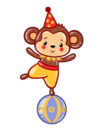 drapes: Circus happy birthday card design. Children vector illustration of a cute Circus monkey standing on a ball. Vector illustration.