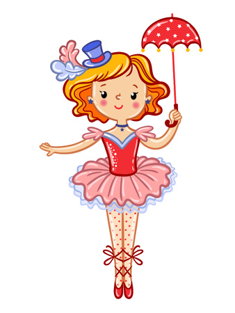 lighten: Postcard, card, poster or invitation with a cute circus girl. Wonderful illustration of circus artist. Vector illustration.