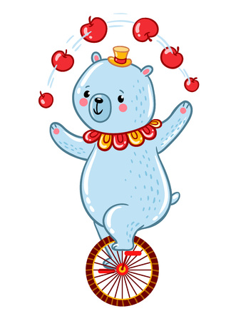 juggles: Bear juggles apples, riding one wheel bike in the Amazing Circus Show. Vector illustration.