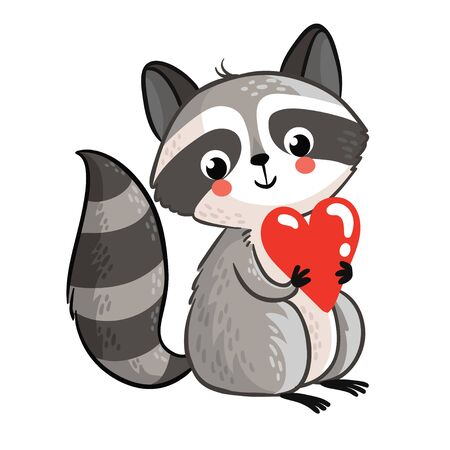cute cards: Perfect for greeting cards for Valentines Day. cute raccoon on a white background.
