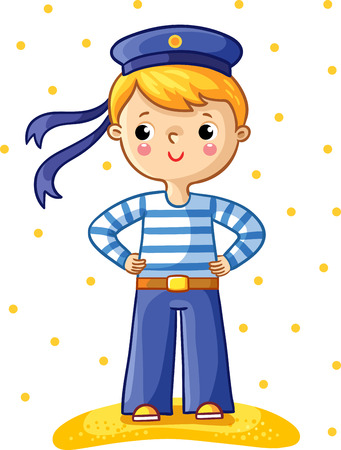 Young sailor cartoon character on white background with yellow points.
