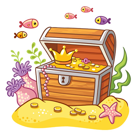Chest with coins and crown on sea bottom with fish and seaweeds around. Illustration