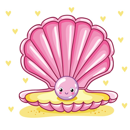 Smiley sea pearl in pink shell on hearts background.