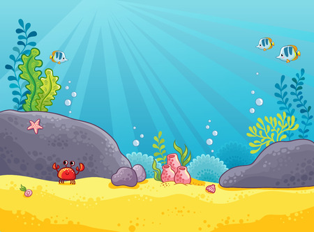 Marine background. Vector illustration of the underwater world. The picture in the style of children s cartoon.