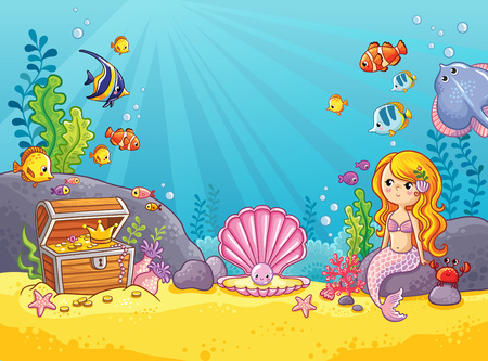 Vector background with an underwater world in a children's style. A mermaid is sitting on a rock. Wooden chest with gold on the bottom of the sea. Seabed in a cartoon style.