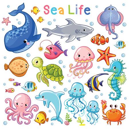 ベクトル海を設定します。子供たちのスタイルでの海の動物。漫画の魚。
