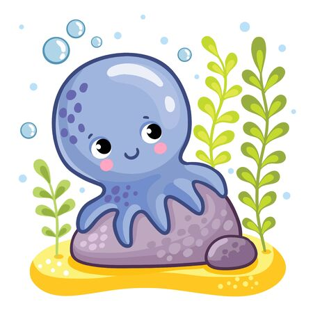 Cute octopus sits on a rock. Octopus on the seabed. Vector illustration in a childrens style.