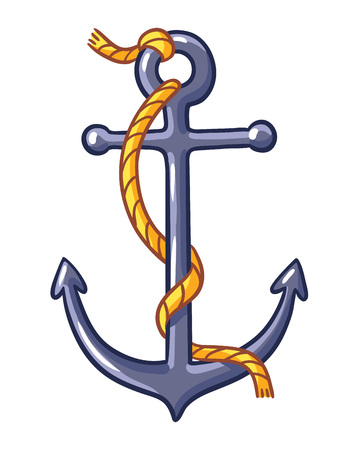 metal drawing: Anchor on a white background. Vector illustration with rope and anchor. Illustration