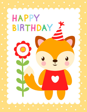 picture card: Cute vector illustration with a fox in the cap. Greeting card for birthday. Picture with a baby fox in childrens style.