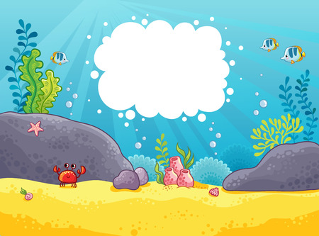 Sea background. Vector illustration in a children's style on the marine theme with space for text. Seabed. Stock Illustratie