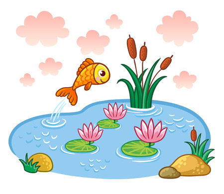 The fish jumps into the pond. Vector illustration with lake and fish.