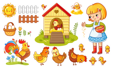 Farm chicken scene. Vector set with chicken and girl. The child feeds the hens and chickens. Childrens cartoon style.
