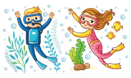 A boy and a girl swim under the water in a scuba diving with fish. Vector illustration with children diver.