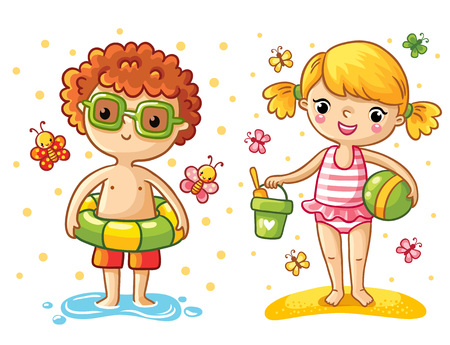 Boy and girl on the beach. Girl playing in the sand. The boy is swimming with a swimming circle.