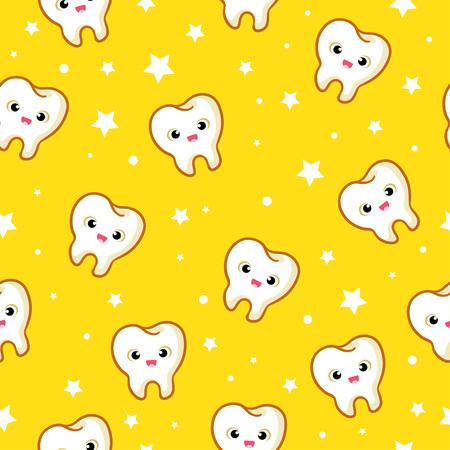 Vector seamless pattern with teeth on a yellow background. Funny pattern in the children s theme.