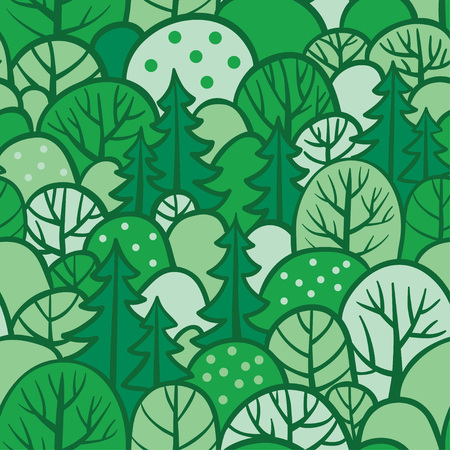 Background with summer trees. Seamless tree pattern with forest illustration in vector. Green seamless forest. Stock Vector - 77914047