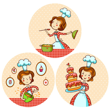 Set with the girl cook. A woman is cooking soup. The girl baked a cake. Vector illustration in cartoon style.