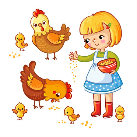 poult: Girl feeding hens and chickens on a white background. Vector illustration in childrens, cartoon style.
