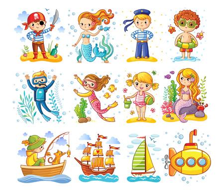ベクトルは、海をテーマに設定。漫画のスタイルの子供たちのコレクション。