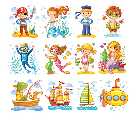 Vector set op een zee thema. Een verzameling kinderen in cartoonstijl. Stockfoto - 78506379