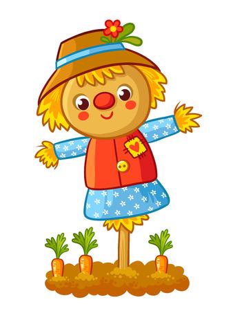 De vogelverschrikker staat in een tuin met een wortel en glimlachend. Vectorillustratie in een cartoon kinderlijke stijl. Happy Scarecrow.