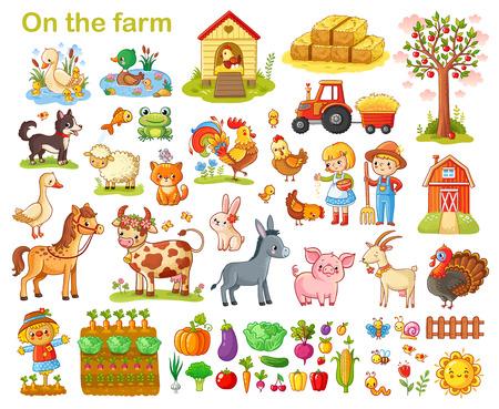 Boerderij met dieren, huisdieren, vee en groenten op een witte achtergrond.