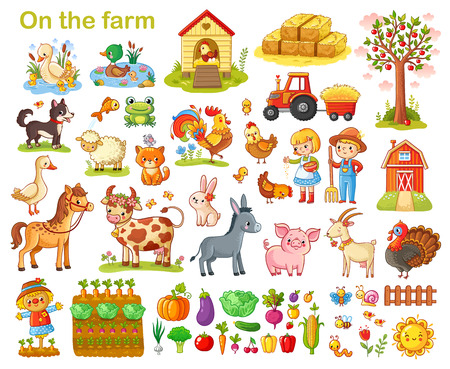 Zestaw gospodarstw rolnych ze zwierzętami, zwierzętami domowymi, zwierzętami domowymi i warzywami na białym tle.